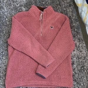Victoria's Secret PINK- teddy bear half zip